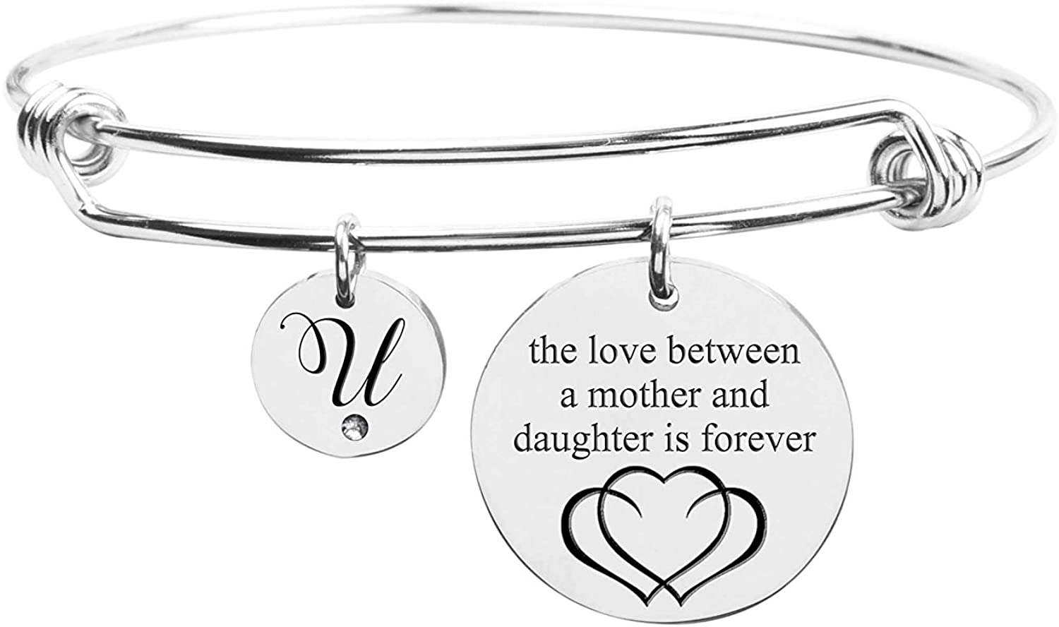 Pink Box Love Between Mother Initial Bangle with Cubic Zirconia - Silver - U