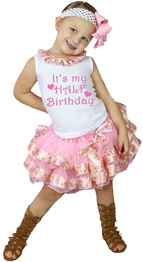 Petitebella It's My Half Birthday White Shirt Rose Ribbon Pink Petal Skirt Nb-8y