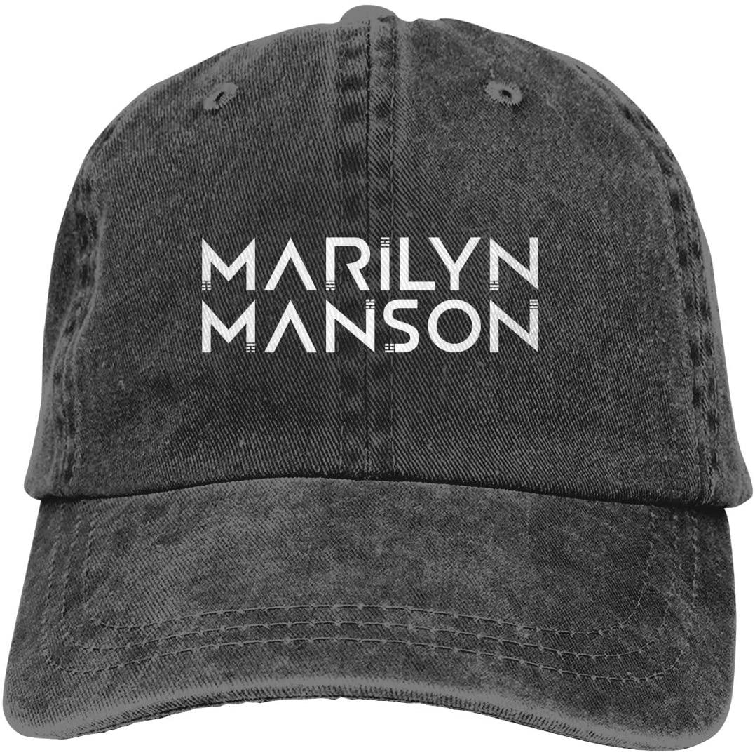 Ocsoc Marilyn Manson Hat Adult Fashion Printed Cowboy Hat Metal Adjustable Buckle Cool Curved Brim Hat Travel Party