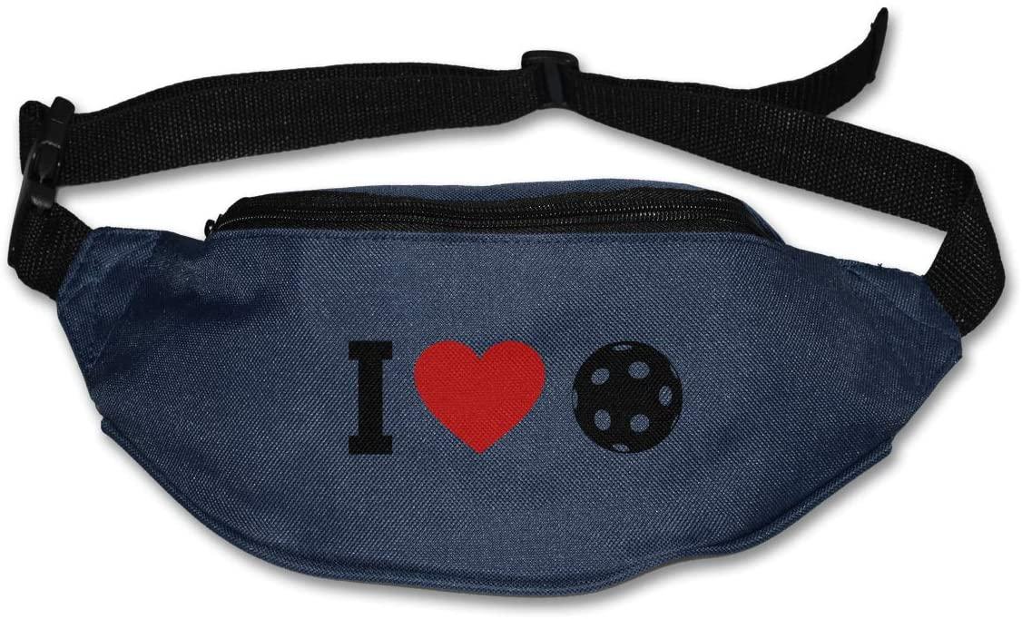 SWEET-YZ Unisex Waist Pack I Love Pickleball Flat Fanny Bag Pack for Sport Running