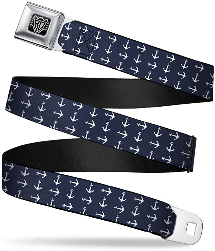 Buckle-Down Seatbelt Belt - Anchors Navy/White - 1.5
