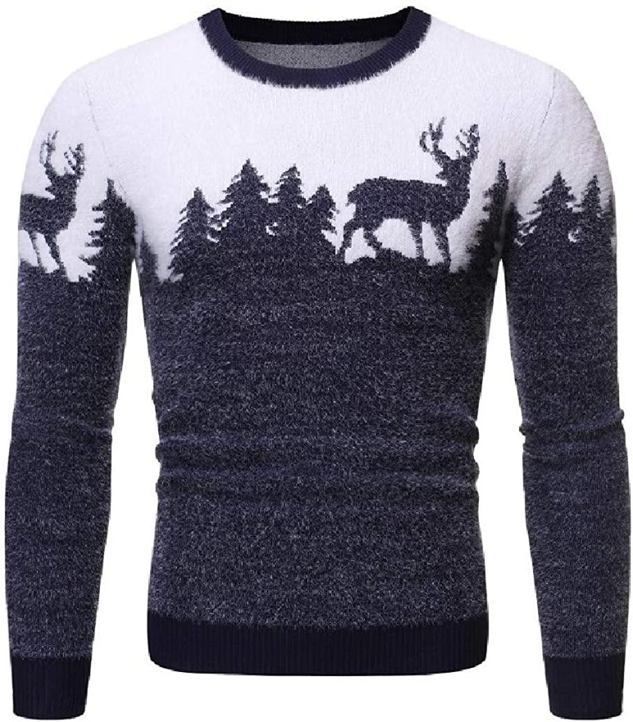 Losait Mens Merry Christmas Crew Neck Fashion Long Sleeve Colorblock Tunic Sweater