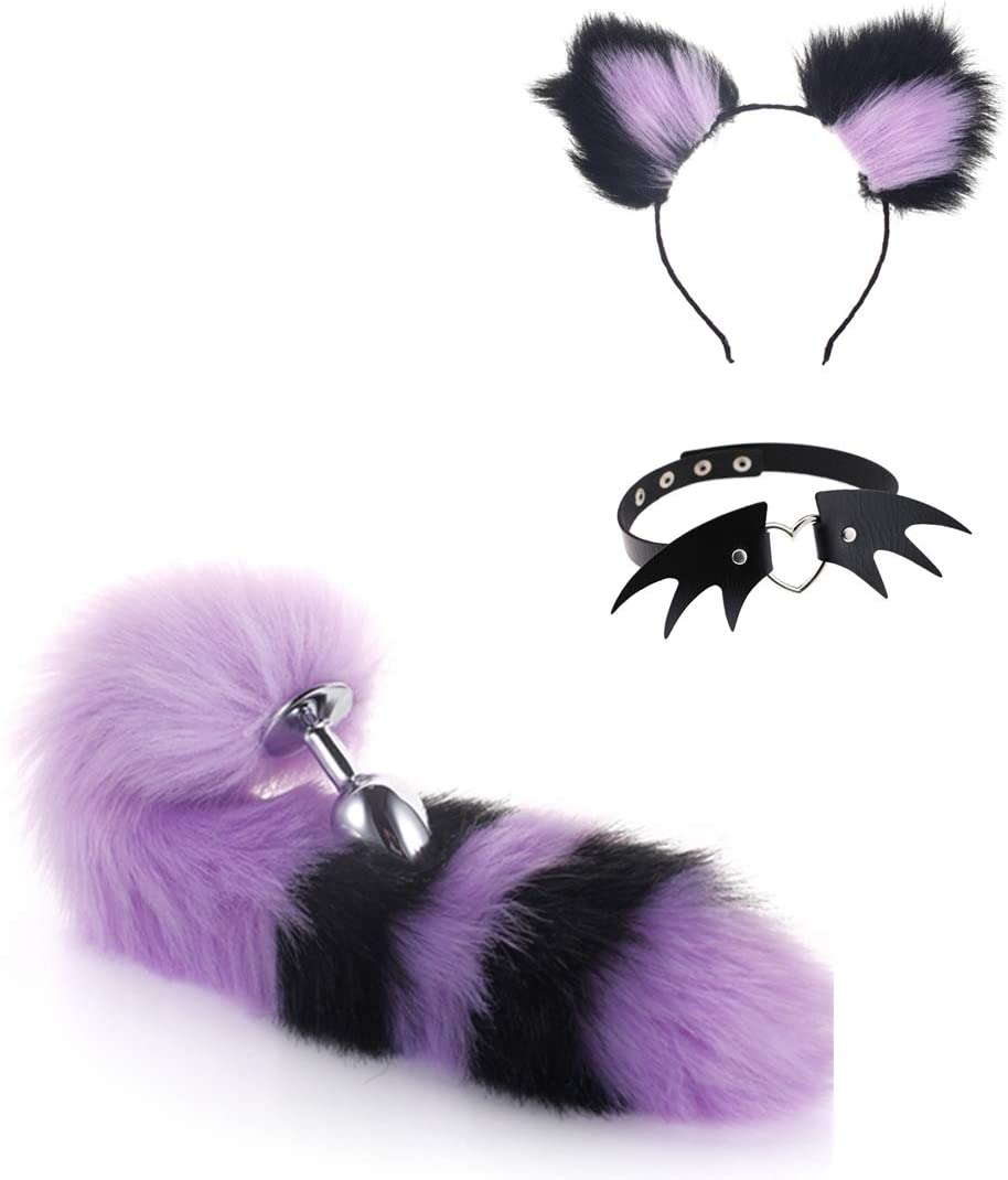 Butt Pug Tail Ear Suit Choker Collar Wing Devil Leather Rave 8 Styles Medium Fox Anime Stainless Steel Bunny Headband Hair Clips Plush Cosplay Maid Toy As a Gift for Partner (Purple Black)