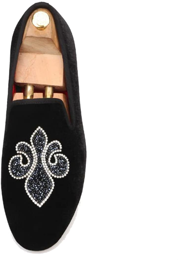 FERUCCI Handmade Men Black Velvet Slippers Flats Loafers with Crystal Embroidery