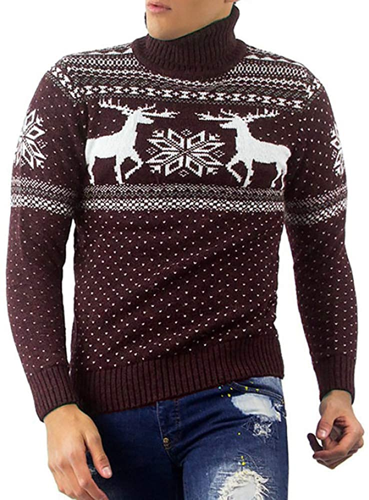 Gafeng Mens Christmas Sweater Turtleneck Ugly Printed Winter Slim Fit Thermal Pullover Sweater