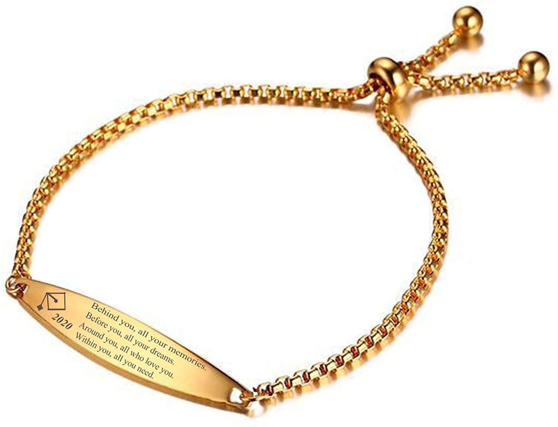 Aienid 2020 Grad Bracelet Stainless Steel Bracelet Engraved Bracelets for Girls