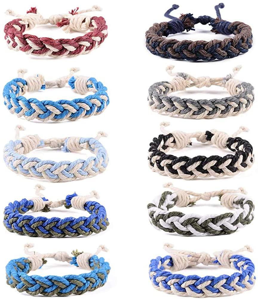 YJT Hemp Bracelet Set Handmade Braided Woven Friendship Bracelets for Boys Girls Bulk Men Women's Anklet Bracelet Adjustable 16-18cm, 10 Pcs