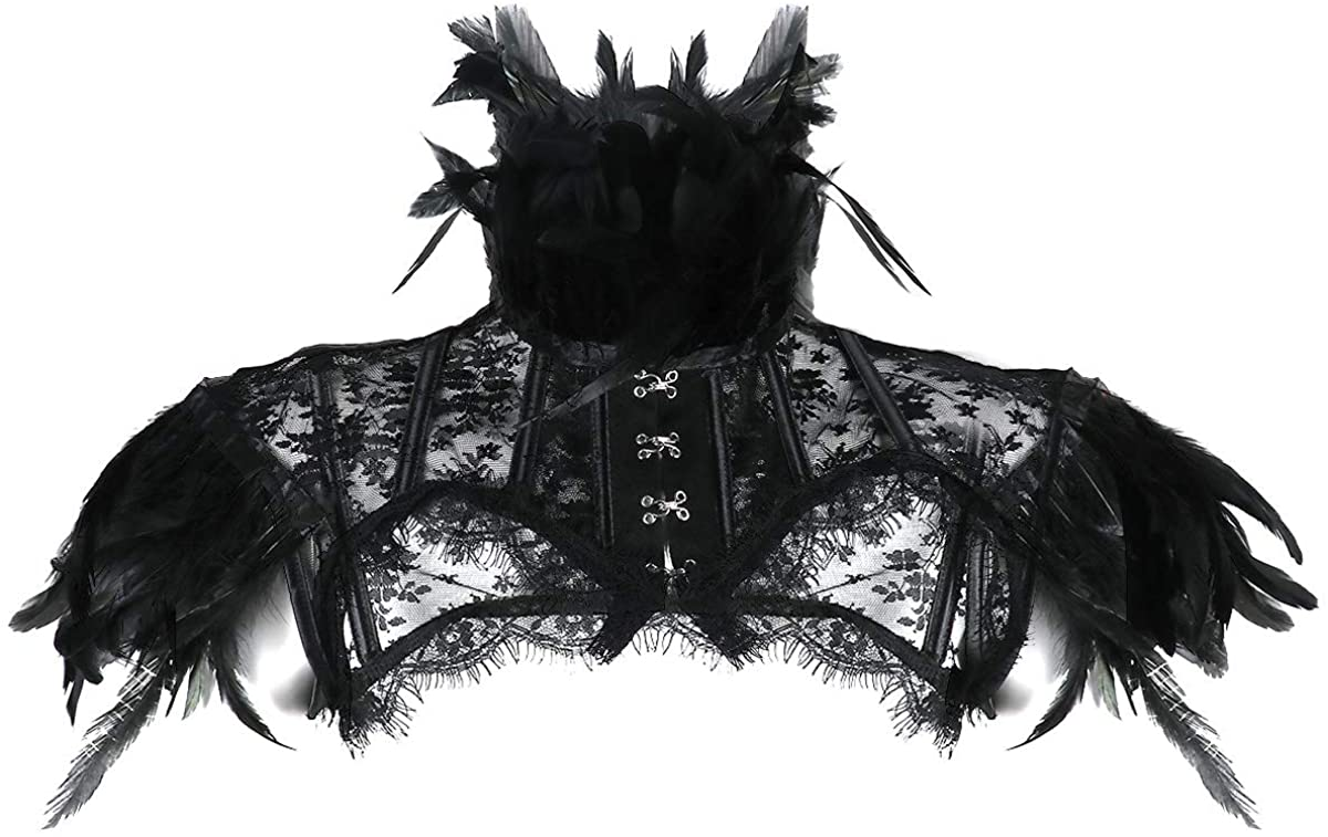 iiniim Gothic Victorian Feather Necklace Collar Harness Shawl Shrug Scarf Top Poncho Halloween Party Accessories