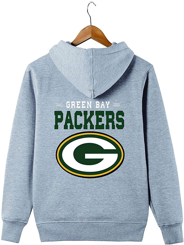 JJCat Men's Long Sleeve Hooded Letters Print Packers Football Team Solid Color Zipper Hoodies
