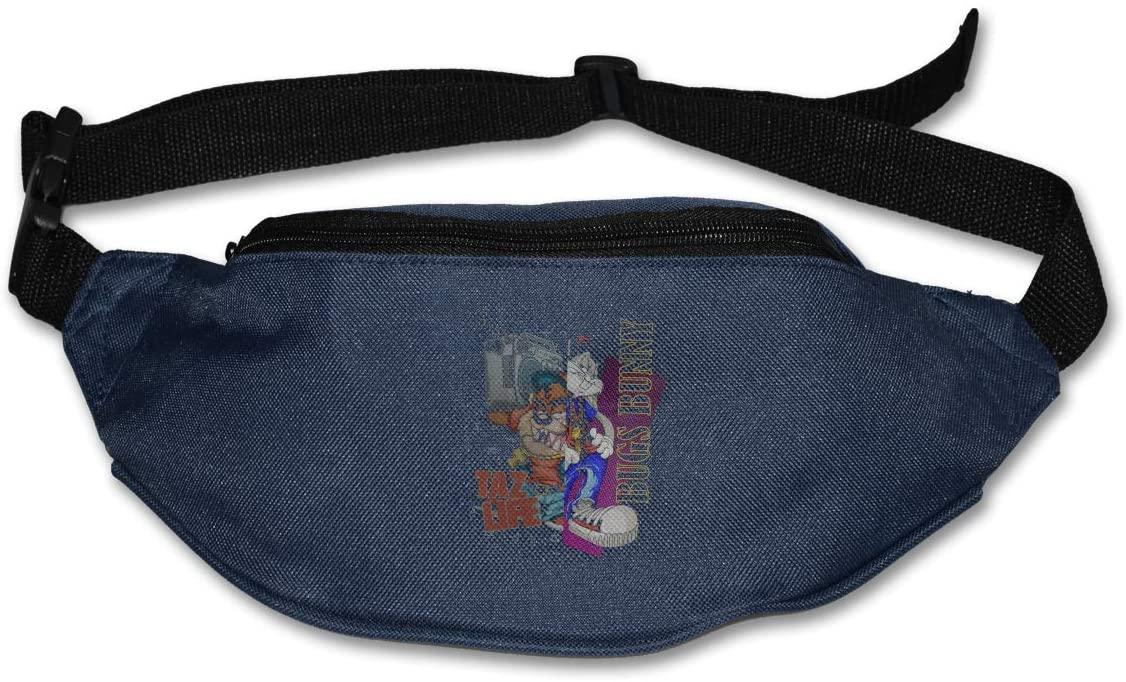 Hwxzviodfjg Looney Tunes Boombox Bugs Bunny & Taz Life Adjustable Running Belt Waist Pack Belt Fanny Pack Navy