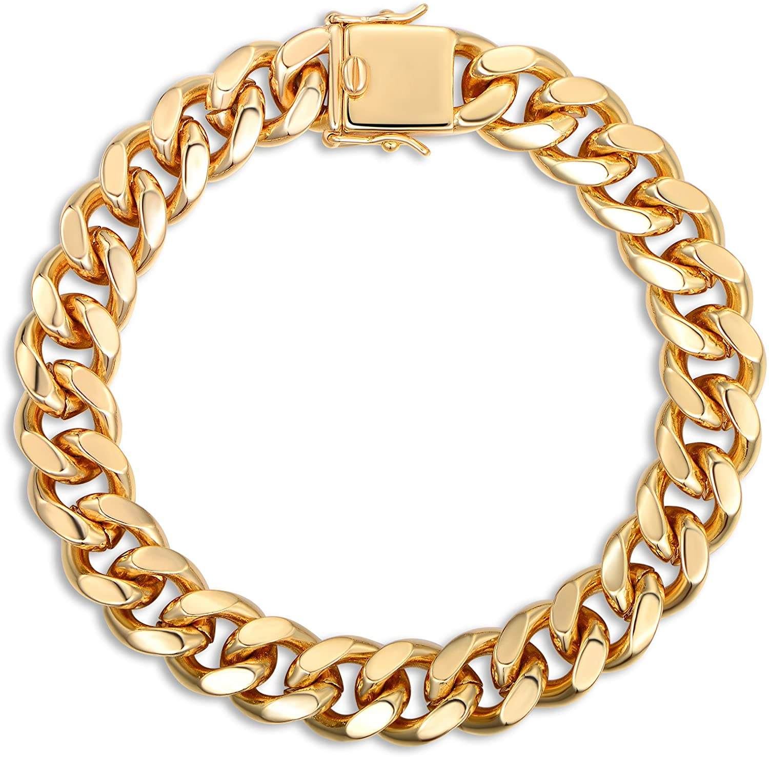 Barzel 18K Rose Gold Plated, White Gold Plated or Gold Plated 11MM Mens Cuban Chain Bracelet