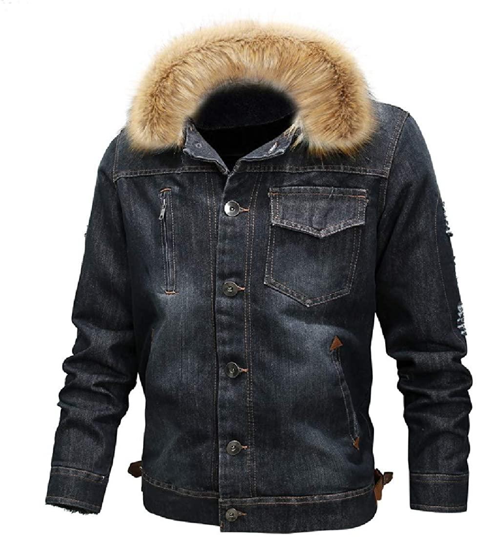 Sudhguyfuy Men's Outerwear Faux Fur Fleece Lined Sherpa Button Down Denim Jacket Coat,Black,US X-Small