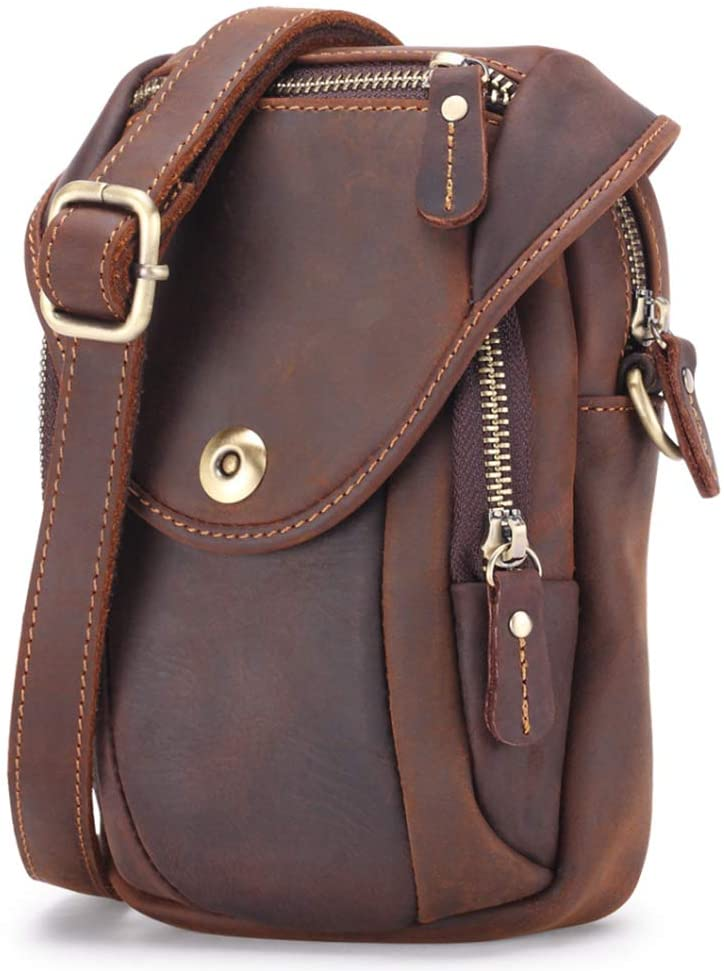Leather Small Shoulder Bag Waist Belt Pouch Crossbody Bag Cell Phone Money Carrying Case Purse Wallet Bum Bag Fanny Pack for Men Women Style1-Coffee
