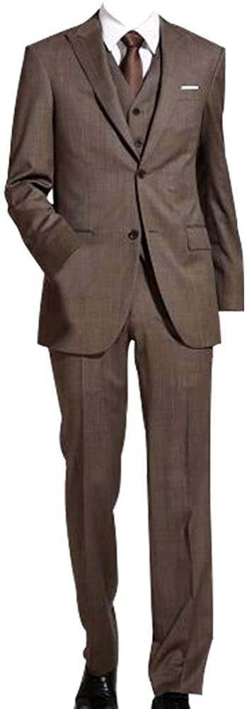 HBDesign Mens 3 Piece 2 Button Closure Collar Slim Fit Suits (Jacket Vest Pants)
