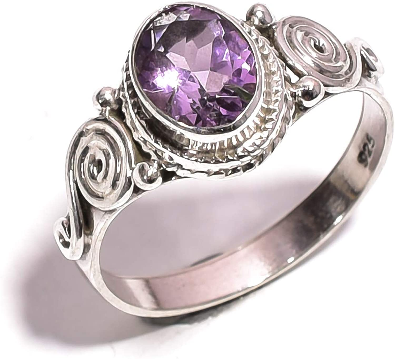 Mughal gems & jewellery 925 Sterling Silver Ring Natural Amethyst Gemstone Fine Jewelry Ring for Women & Girls Size 7.75 U.S (ZR-755