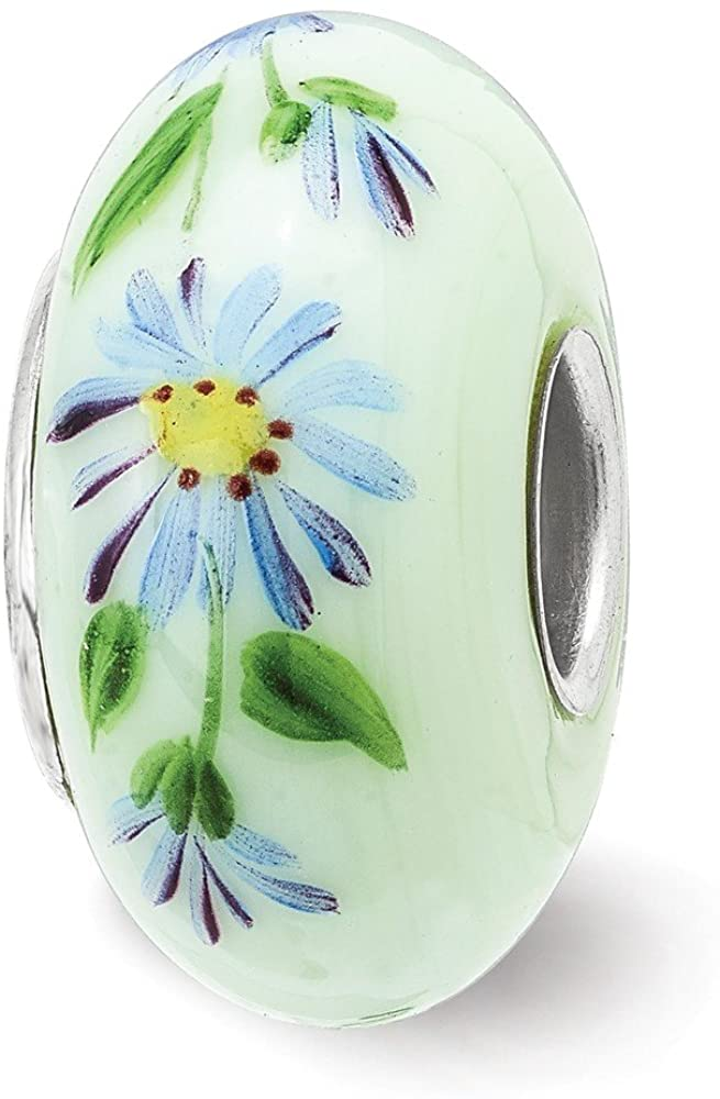Bead Charm White Sterling Silver Glass Green Yellow Blue 15 mm