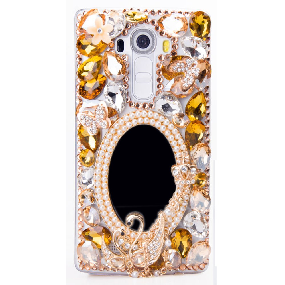 STENES LG G Stylo 2 Plus/LG Stylus 2 Plus Case - [Luxurious Series] 3D Handmade Shiny Crystal Bling Case With Retro Bowknot Anti Dust Plug - Girls Cosmetic Mirror Swan Butterfly/Champagne