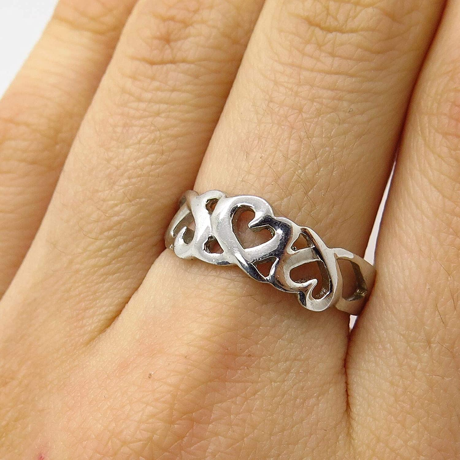 Signed 925 Sterling Silver Open Heart Love Ring Size 8 by Wholesale Charms