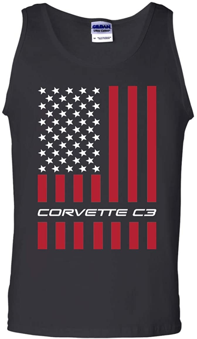 WheelSpinAddict Mens Corvette C3 American Flag USA Tank Top