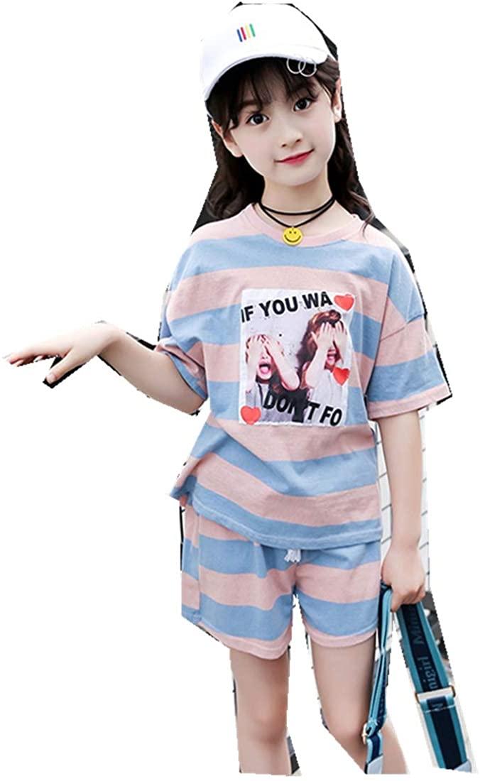 MV Summer Children's Clothing Girls Striped Cotton Two-Piece Shorts Running Sports
