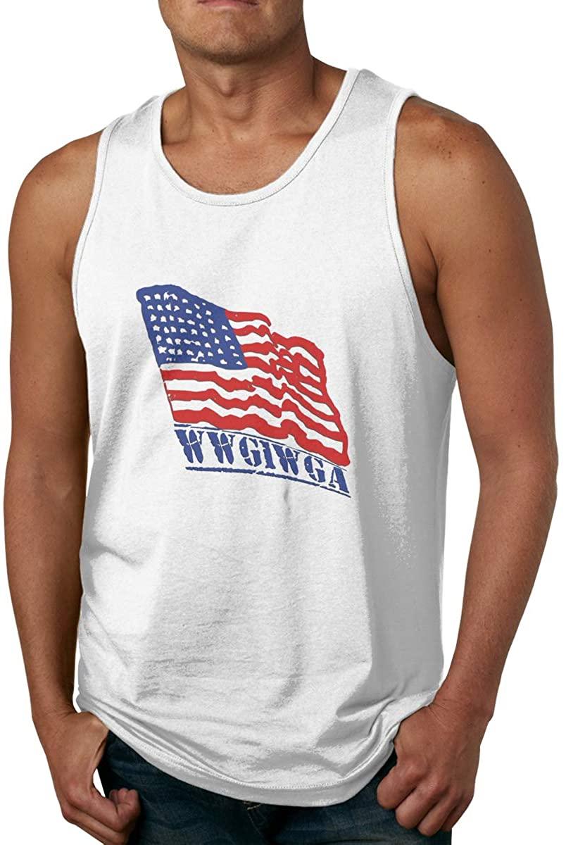 Wwg1wga American Flag Sleeveless Muscle Tee Shirt Tank Top for Men