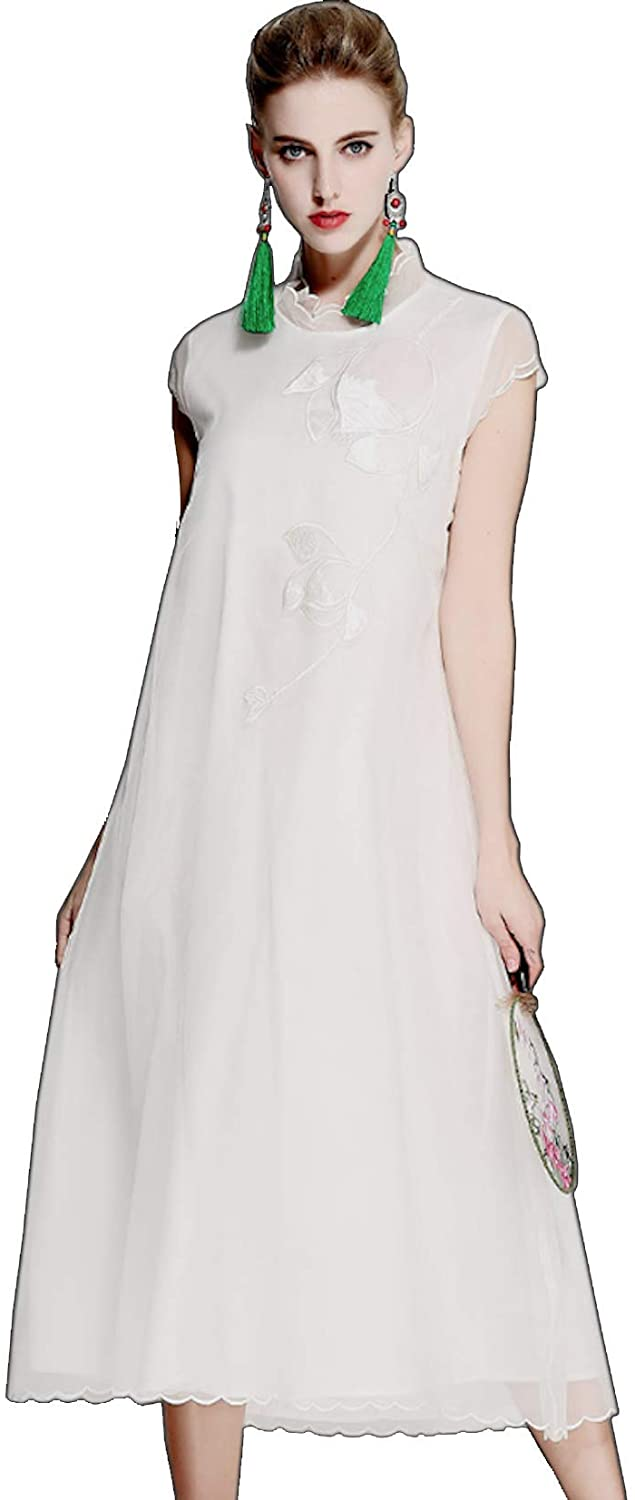 HangErFeng Cheongsam Silk Organza Embroidered Dress Chinese Element Embroidered Improving Qipao White