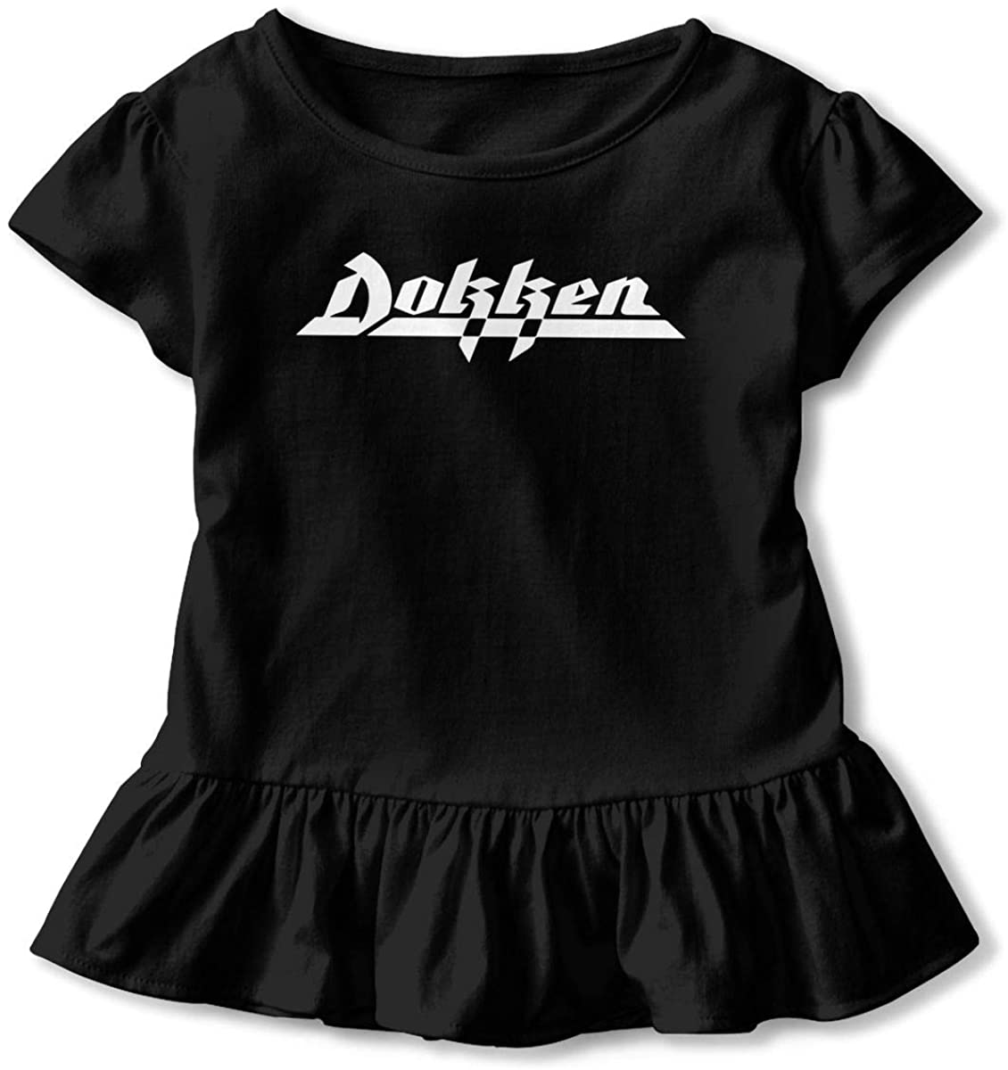 AHUAHUA Kids Dokken Logo Toddler Short Sleeve T Shirt Children Girls Cotton Graphic Tee Soft Dress (2-6T)