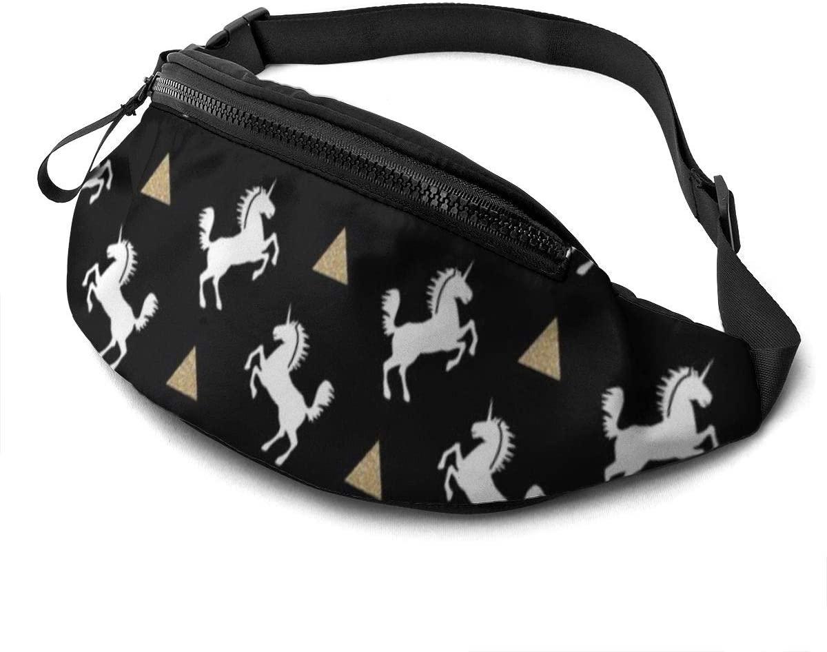 Unicorn Black Gold Glitter Fanny Pack For Men Women Waist Pack Bag With Headphone Jack And Zipper Pockets Adjustable Straps
