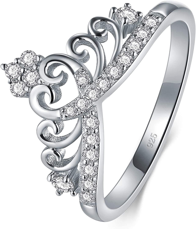 BORUO 925 Sterling Silver Cubic Zirconia Princess Crown Tiara Wedding Cz Band Eternity Ring 4-12
