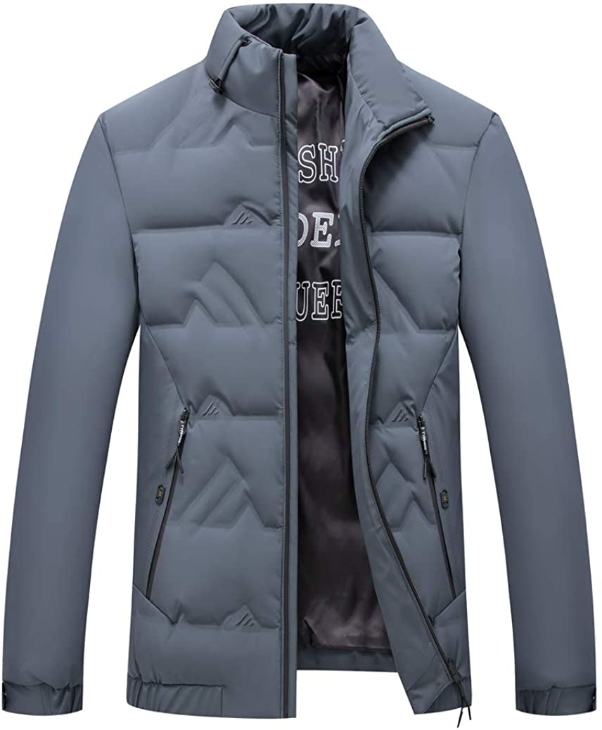 Michealboy Men's Casual Down Jacket Short Stand Collar Slim Fit Plus Size Zipper Up