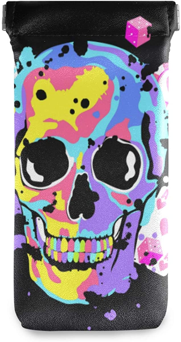 Eyeglasses Pouch Glasses Case - Color Skull Game Cards Squeeze Top Sunglasses Pouch Portable Eyewear Sleeve for Women Men Kids
