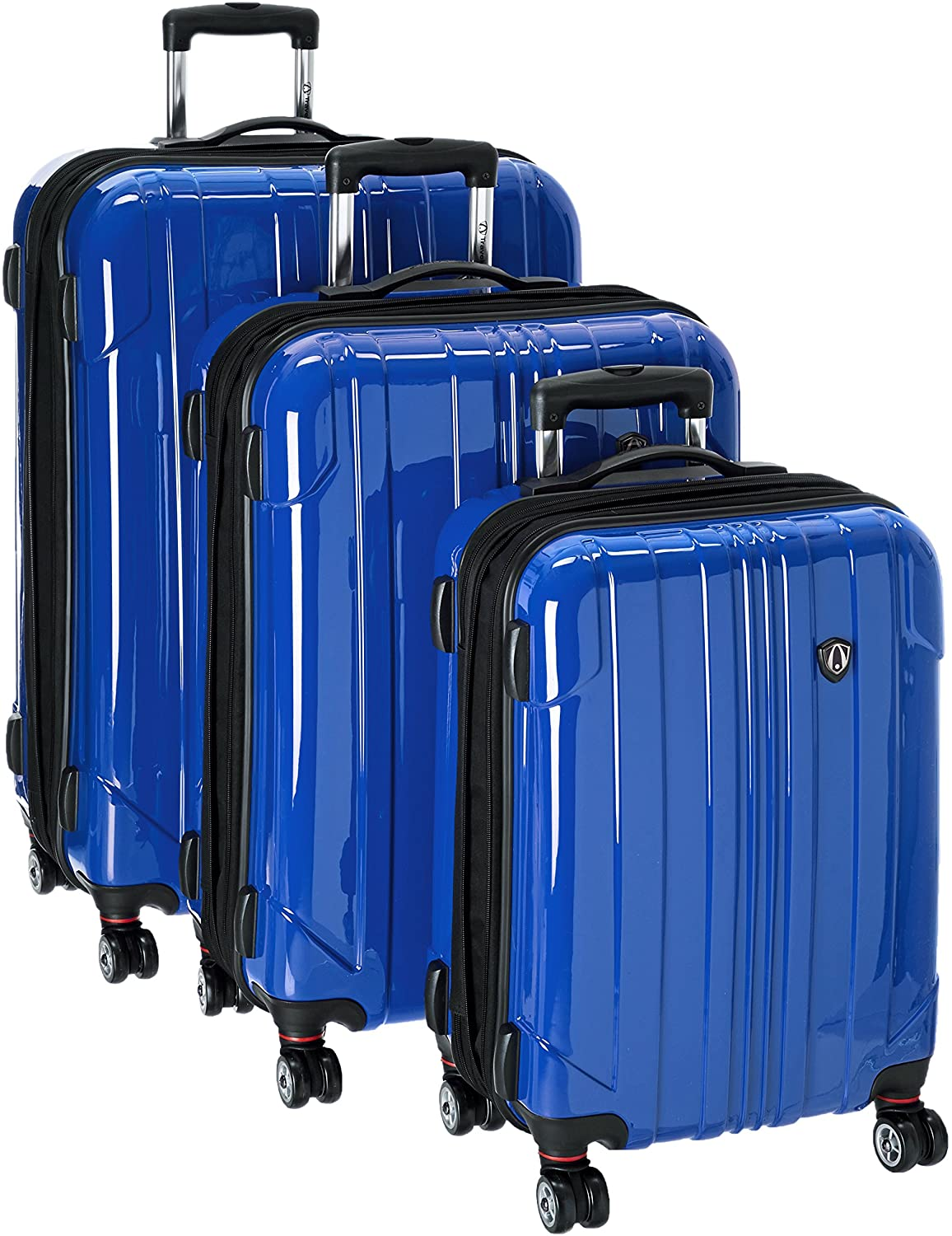 Traveler's Choice Sedona 100% Pure Polycarbonate Expandable Spinner Luggage, Blue, 3-Piece Set