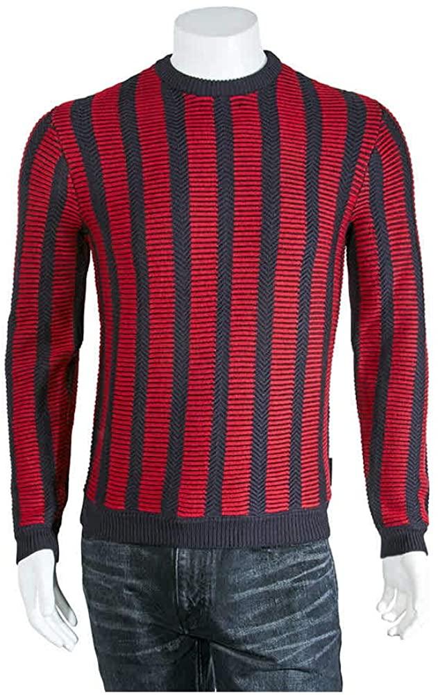 Emporio Armani Men's Red Stripe Sweater, Brand Size XX-Large