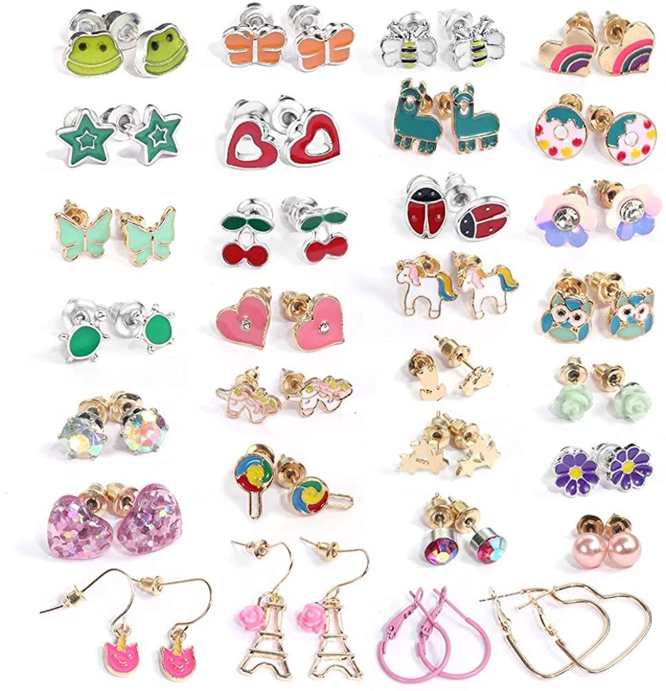 SUNNYOUTH Assorted Stainless Steel Stud Earrings for Women Girls Teens Unicorn Gifts Cute Animal Flower Ladybug Heart Star Earrings Stud Hypoallergenic Christmas Gifts