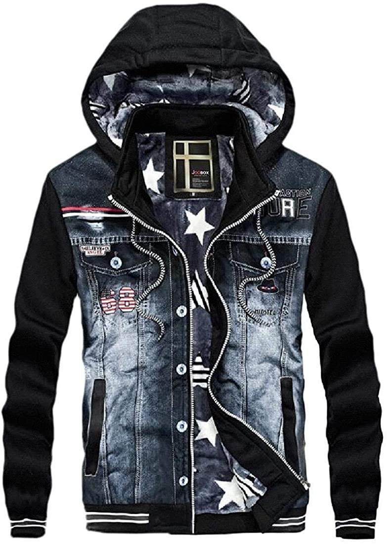 Sudhguyfuy Mens Slim Fit Full-Zip Fleece Moto Biker Fall & Winter Hooded Denim Jacket Jean Coat