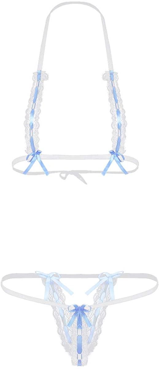 YiZYiF Womens Sexy Bikini Hollow Out Lace Sleepwear Lingerie Set Halter Neck Tie-on Bra Top Thong