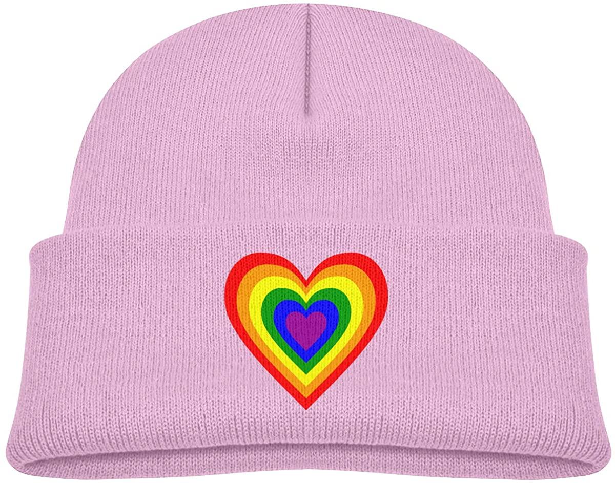 LGBT Rainbow Heart Toddler's Hats Winter Knit Beanie Cap Skull Cap