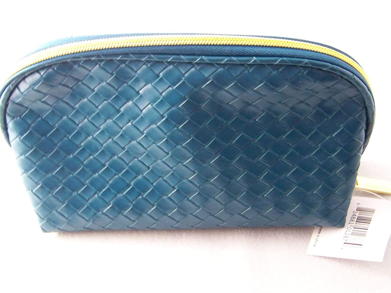 Nordstrom Faux Leather Blue/Green Cosmetic Bag New 2013