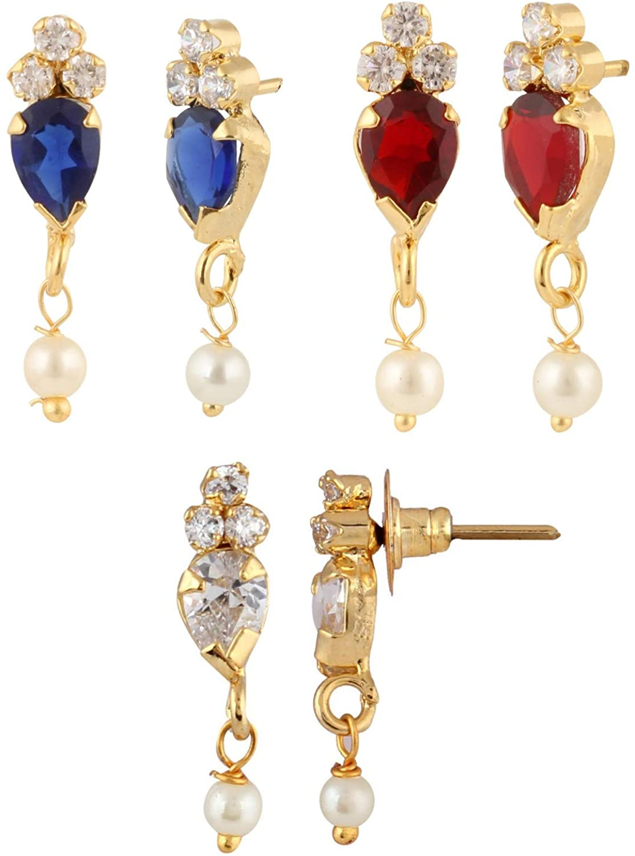 Efulgenz 14 K Gold Plated Hypoallergenic Cubic Zirconia Stud Pierced Jewelry Pearl Drop Earrings Set of 3