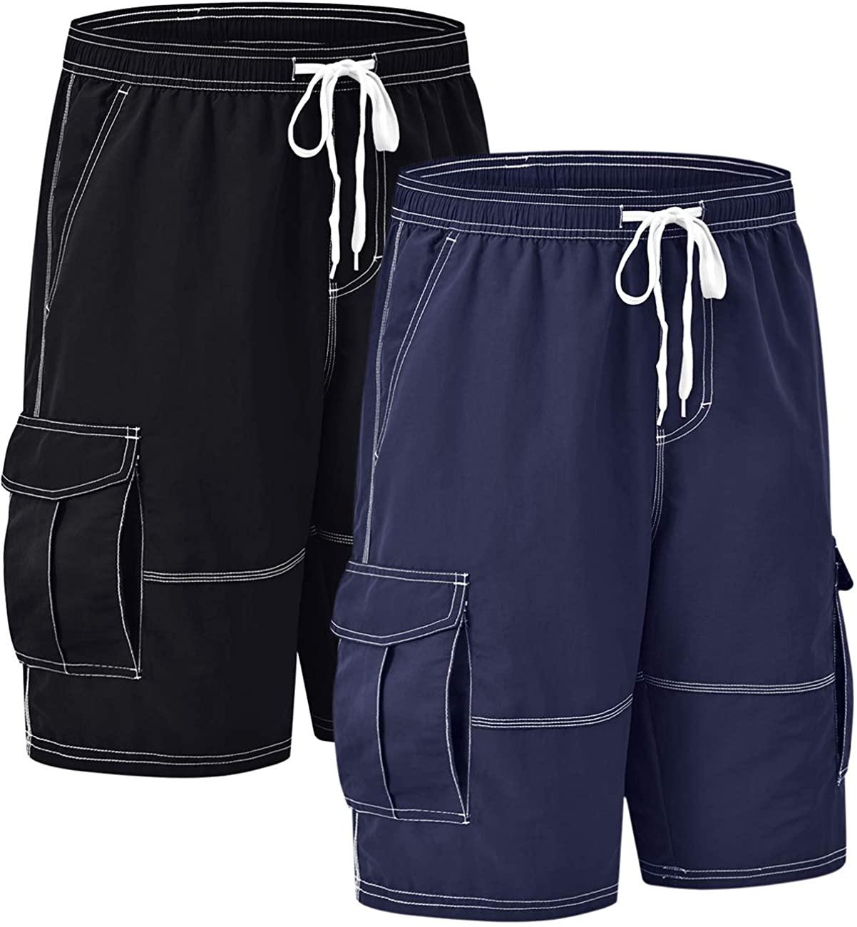 Akula Men's Swim Trunks Long Beach Shorts Quick Dry Board Shorts with Cargo Pockets