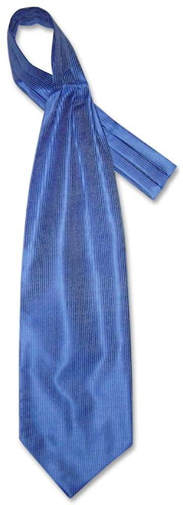 Antonio Ricci ASCOT Solid ROYAL BLUE Ribbed Pattern Color Cravat Mens Neck Tie