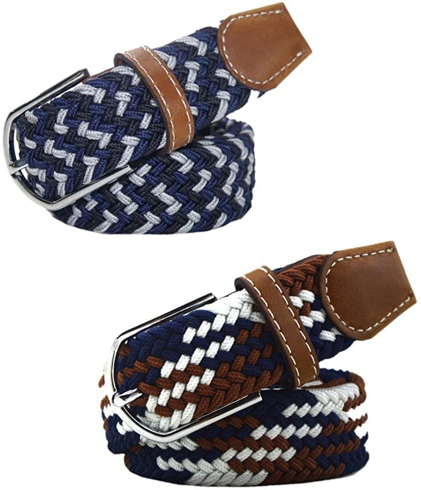 2PCS Unisex Casual Braided Elastic Stretch Belt Fabric PU Leather Buckle Belt