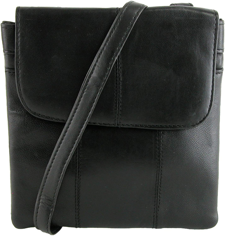 CTM Leather Belt Bag Waist Pack, Black