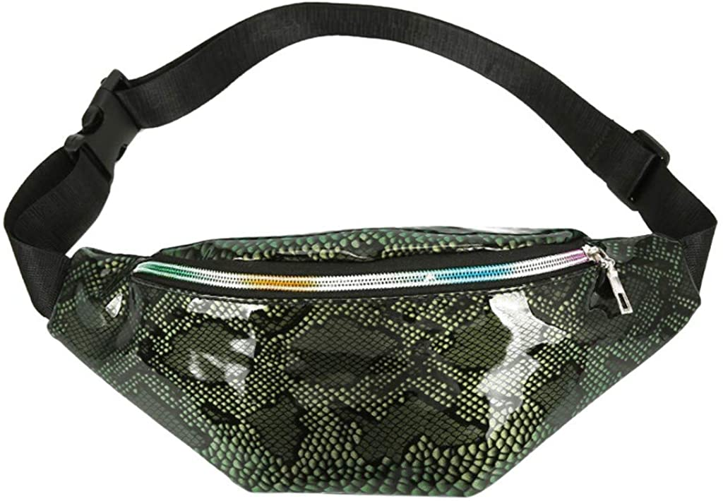 LATINDAY Women Snakeskin Print Fanny Pack Rave Waist Bag Zipper Chest Pack Bum Bag Purse Pouch