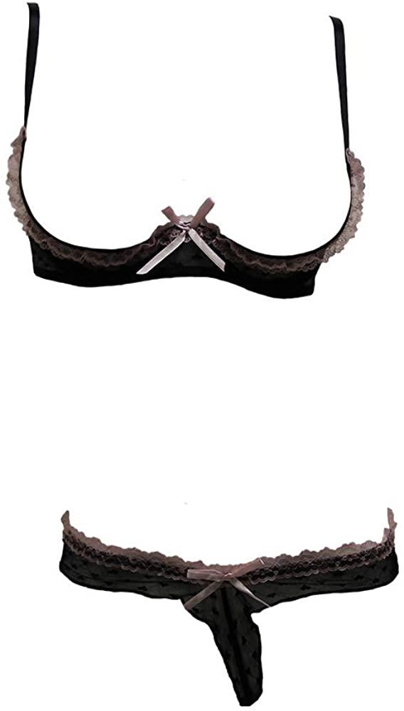Velvet Kitten Lilly Lace Open-Cup Bra Set - One Size #3094 Black/Pink