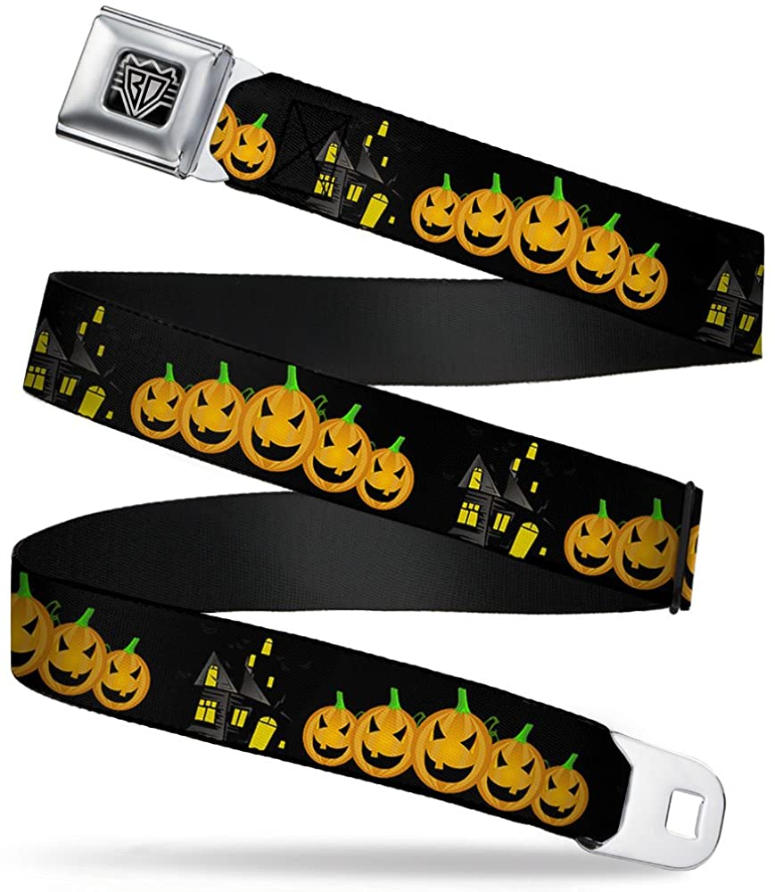 Buckle-Down Seatbelt Belt - Jack-o-Lanterns/Haunted House Black/Yellow - 1.5 Wide - 32-52 Inches in Length