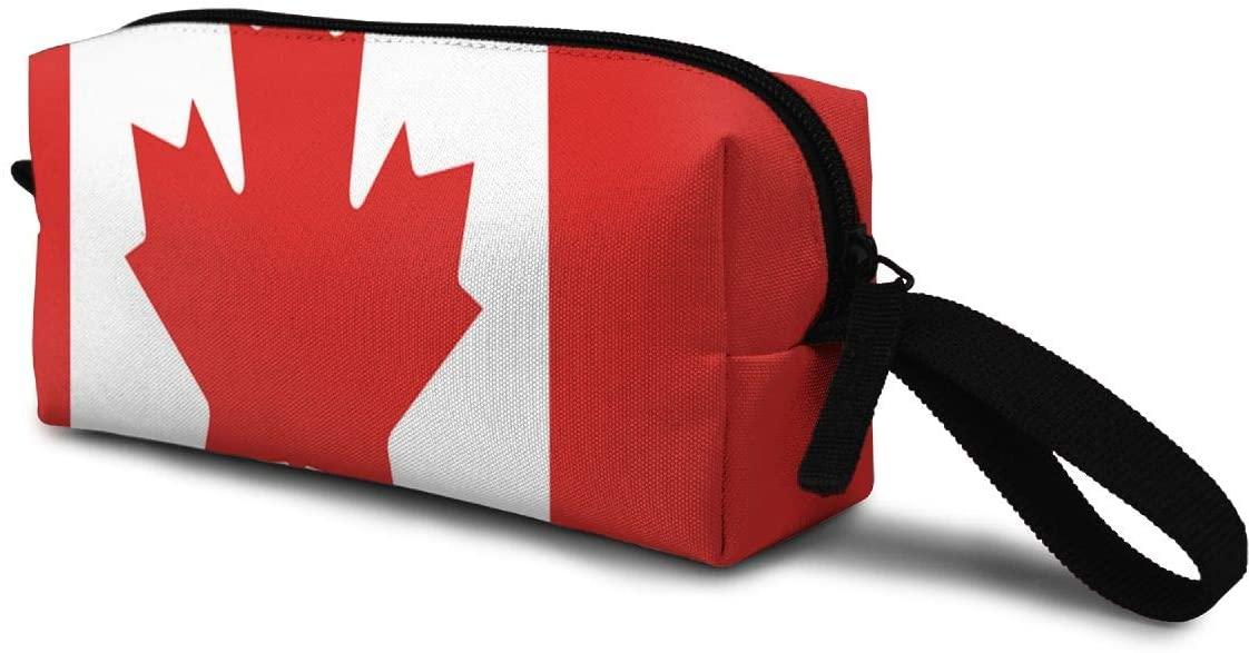 T-JH Canada Flag Mini Makeup Bag,Portable Cosmetic Bag,Organizer,Toiletry Handbag,Sewing Kit,Storage Pouch for Women Purse