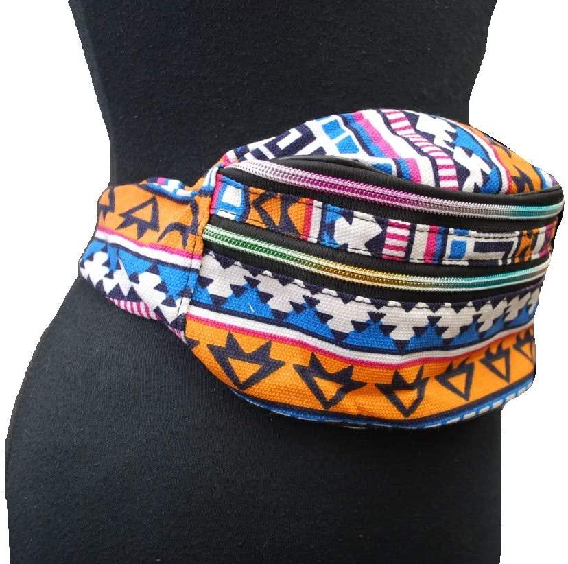 2 Way Print Fashion Crossbody Waist Belly Bag Festival Fanny Pack 90's Vintage (Multi Orange)