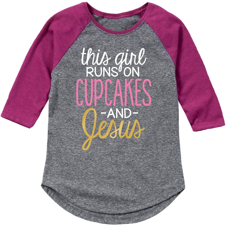 This Girl Runs On Cupcakes and Jesus - Toddler Girl Shirt Tail Raglan