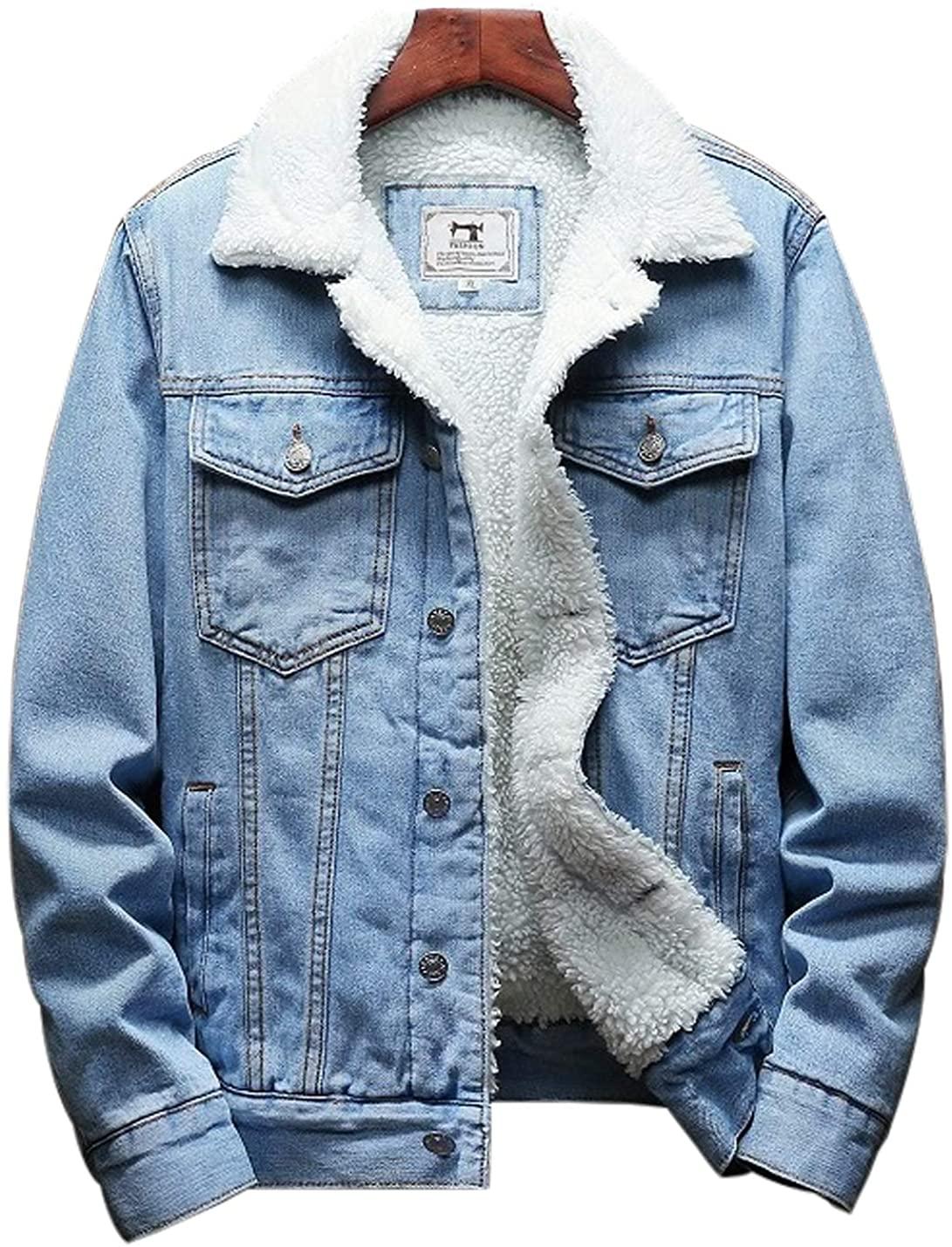 Jenkoon Mens Sherpa Lined Denim Trucker Jacket Winter Jean Coat Outwear